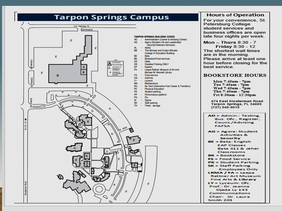 Tarpon Campus Map & Hours | jeannaojeda.wordpress.com